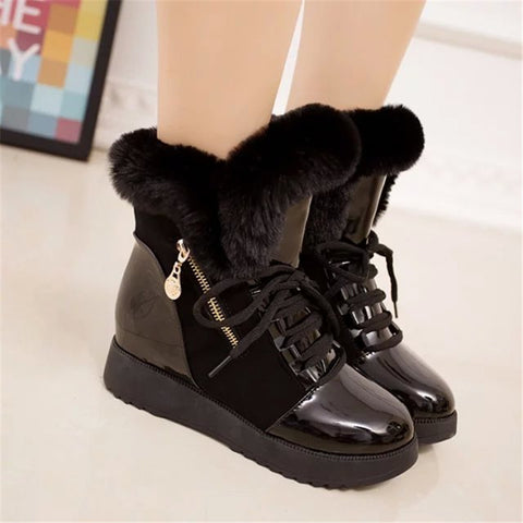 Women Boots Platform Shoes Women Snow Boots Platform Keep Warm Ankle Boots With Thick Fur Heels