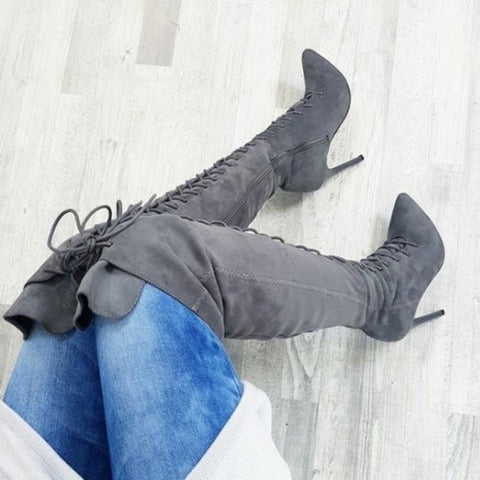 New Women's High Heel Long Boots Solid Color Suede Bandage Pointed High Ladies Boots Knee High Boots Women