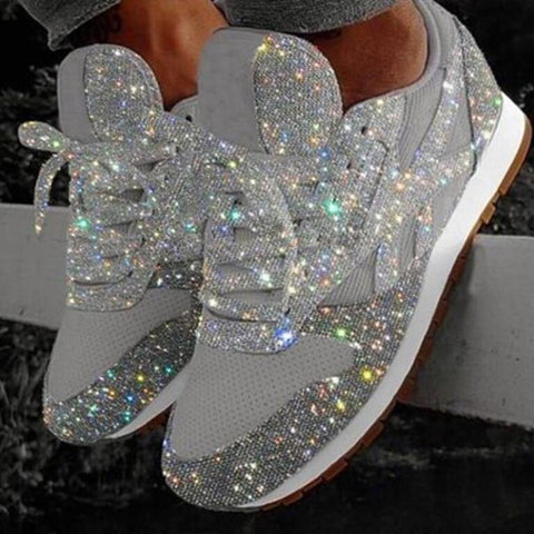 Shoes Woman Flats Casual Slip On Muffin Rhinestone New Crystal Platform Sneakers