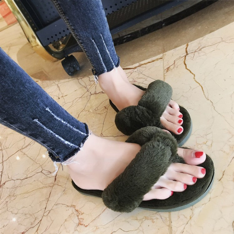 Fashion Women Home Slippers Faux Fur Warm Shoes Woman Slip On Flats Female Fur Flip Flops
