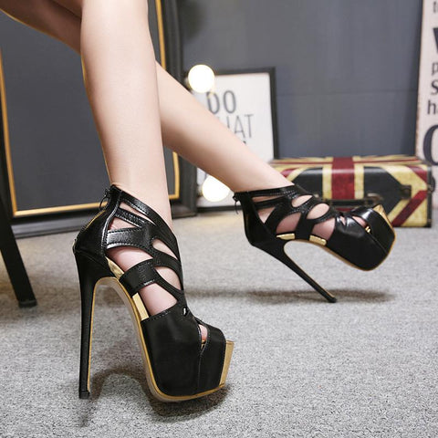 Platform Hollow Fashion Women Peep Toe High Heels Shoes