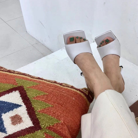 New Women Sandals Square Toe Ladies Heel Mules Sexy Thin High Heels Sandals Slippers Female Fashion Woman Shoes