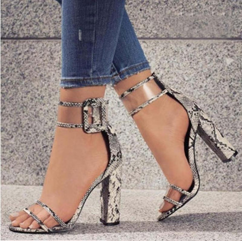 Fashion Buckle Fish Mouth Women Sandals High Heels Shoes