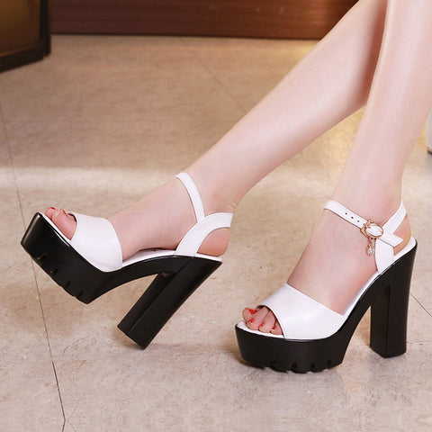Ankle Strap Heels Women Sandals Shoes Women Open Toe Chunky High Heels Party Dress Sandals