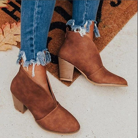 New Boots V Cutout Ankle Boots Stacked Heel Booties Boots PU