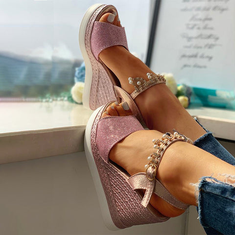 New Women Wedge Sandals Bead Studded Detail Platform Sandals Buckle Strap Peep Toe Thick Bottom Casual Shoes Ladies