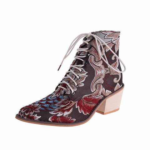 Retro Women Boots Printed Ankle Vintage Motorcycle Booties Ladies Shoes Woman New Embroider High Heels Boots