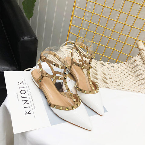 Ankle Strap Women Flat Leopard Shoes Pointed Toe Rivet Flat Sandals Woman Party Dress Shoes