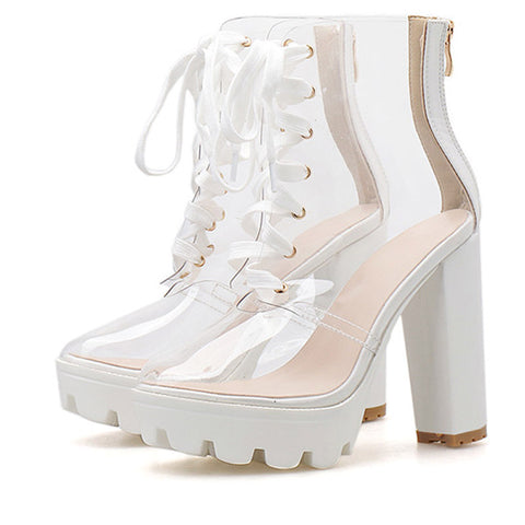 Transparent Round Toe Ankle Zipper Boots Fashion Serpentine Lace Up High Platform Women Shoes