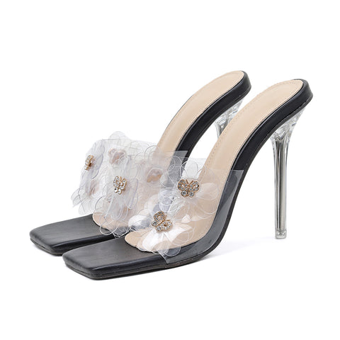 Women Slippers Pvc Transparent Crystal Heel Shoes Woman Metal Design Square Toe High Heels Party Prom Slides Shoes
