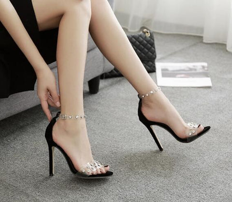 Ankle Strap Fashion Women Diamonds Peep Toe High Heels Shoes