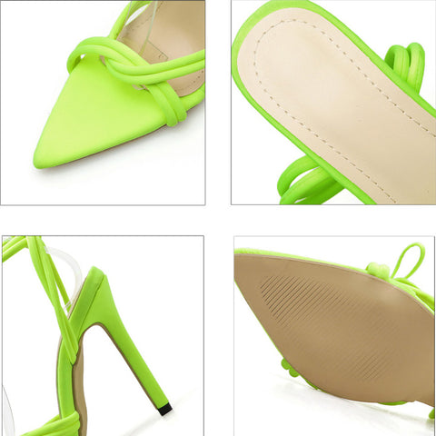 Thin Heels Women Pumps Ankle Cross Strap Sandals Shoes Woman Ladies Pointed Toe Sexy High Heels Dress Party Shoes Footwear