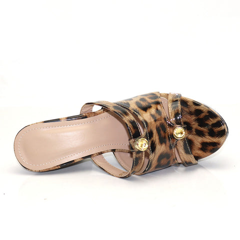 New Fashion Print High Heel Sandals Design Rhinestone Matching High Heel Ladies Sandals And Slippers