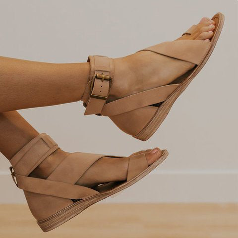 Women Beach Sandals Flats Casual Shoes Woman Sandals Open Toe Pu Flat Fashion Sandalias
