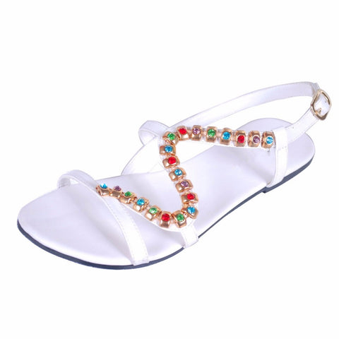 New Women`s Diamond Sandals Women Beach Rhinestone Shoes Casual Holiday Shoe Peep Toe Shoes