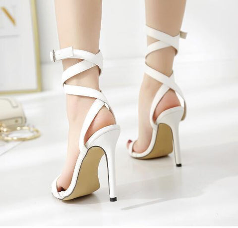 Buckle Diamonds Women Fashion Peep Toe High Heels Shoes