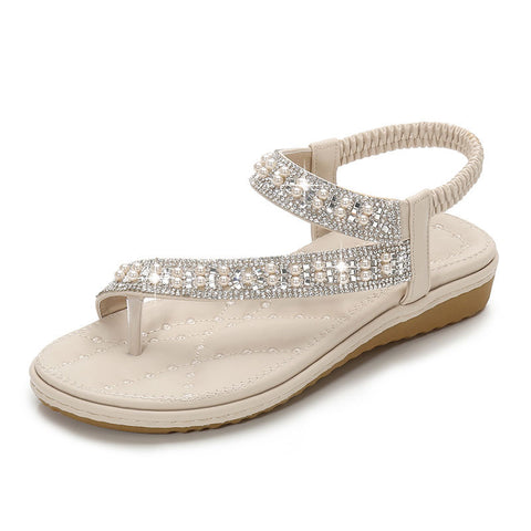 Women Sandals Flat Crystal Diamond Slip On Bridal White Wide Fit Bling Pearl Toe Ring Shoes