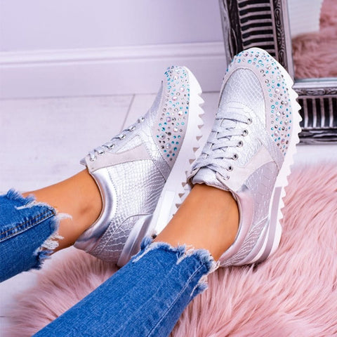 Vulcanized Shoes Fashion Beautiful Casual Shoes Snakeskin Print Crystal Lace Up Sneakers Non Slip Low Heels