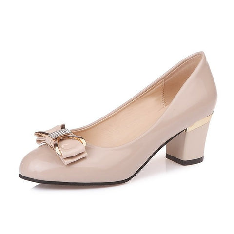 Women Pump Thick Heels Shoes Suede Metal Decoration Crystal Sweet Ladies Classic Fashion Female