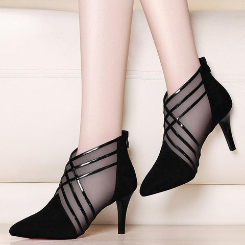 Fashion Mesh Lace Crossed Stripe Women Ladies Casual Pointed Toe High Stilettos Heels Pumps Feminine Sandals Shoes