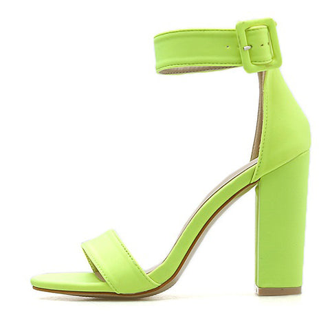 Women Sandals High Heel Fluorescent Green Open Toed Ankle Wrap Buckle Strap Casual Ladies Sandals Shoes