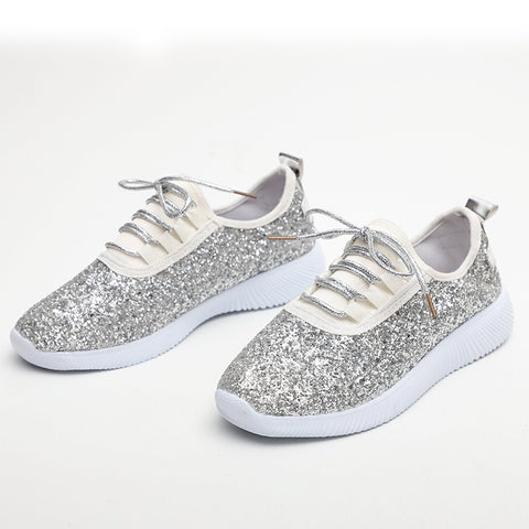 Women Lace Up Glitter Vulcanized Ladies Bling Flat Casual Soft Sneakers Female Fashion