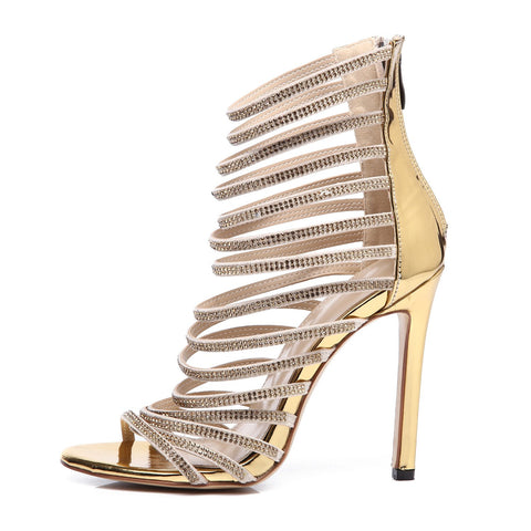 Diamonds Crystal Fashion Women Fish Mouth Sandals High Heels Shoes
