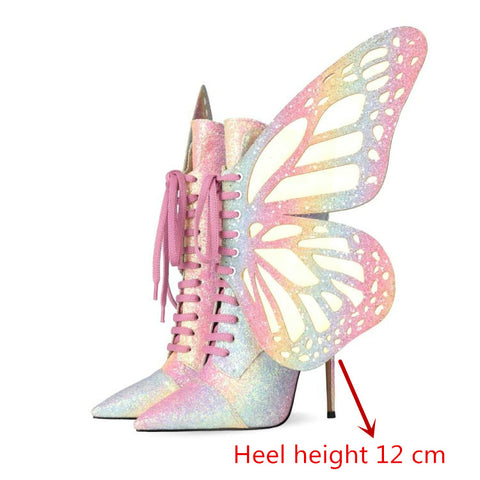 Butterfly High Heeled Ankle Boots High Heeled Women's Shoes Pointed Toe Lace Up Ankle Boots