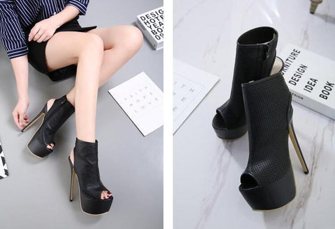 Zipper Peep Toe Leather Women Fashion High Heels Shoes