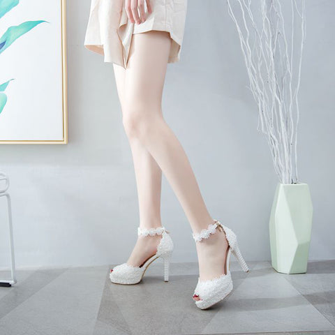 Women Shoes Fish Mouth Platform Shoes Woman Thin Heel White Lace Wedding Shoes Bride Dress Pumps Buckle Pearl