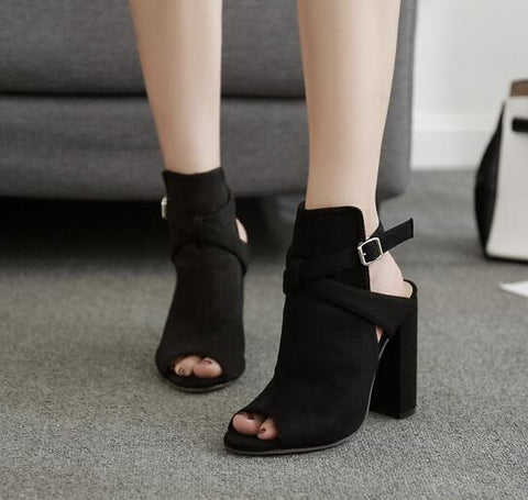 Peep Toe Buckle Women Fashion Sandals High Heels Shoes
