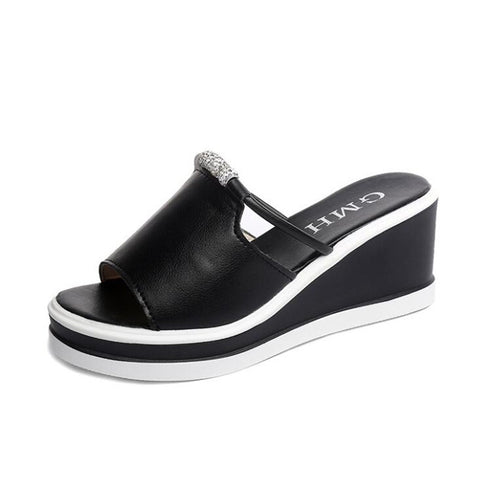 Women's Slippers Wedge Platform Shoes Women Peep Toe Sandals Soft Ladies Casual Beach Slides Comfort Female Shoe New