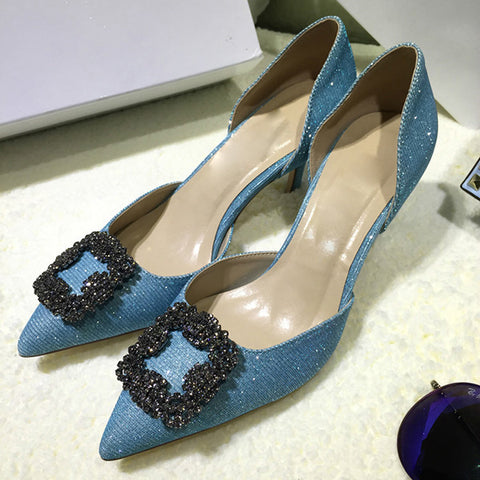 Women High Heels Female Pumps Colorful Metal Decoration Fashion Women Shoes Pointed Toe Casual Shoes