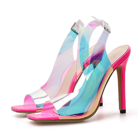 New Elegant Womens Slides Sandal Transparent Pvc Square Toe Buckle Strap Thin High Heels Ladies Party Dress Shoes