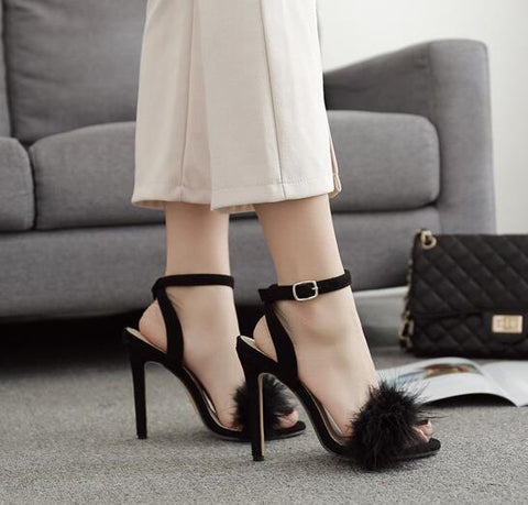 Feather Ankle Strap Women Fashion Sandals High Heels Shoes