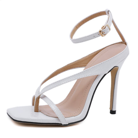 Women Sandals Narrow Band Vintage Square Toe Stilettos Heel Ankle Buckle Strap Sexy High Heel Sandals Women Shoes