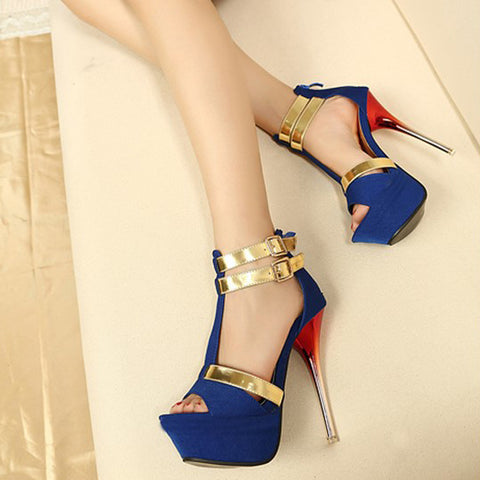 Fashion Women Sandals Casual Flock Buckle Strap Thin Heels High Heels Open Toed Women Shoes Sexy Pumps