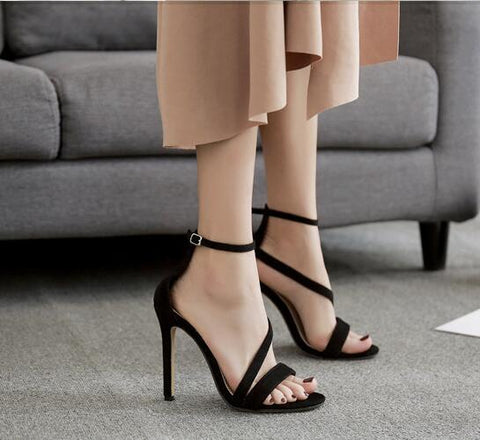 Snake Print Peep Toe Fashion Women Ankle Strap High Heels Shoes