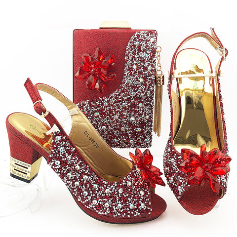 Pretty Leisure Style Women Shoes And Bag In Red Color Slingbacks Pointed Toe Lady Shoes And Bag For Lady