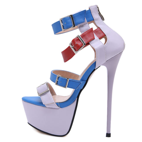 Fashion Women Mix Colors Sandals Shoes Woman Platform Sexy Stiletto High Heels Sandalia Feminina