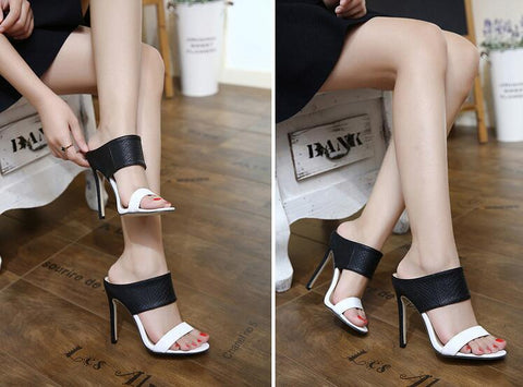 Fashion Leather Women Peep Toe Sandals High Heels Shoes