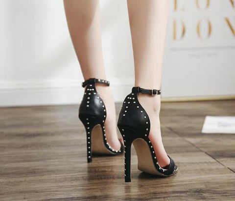 Rivets Ankle Strap Women Fashion Peep Toe Sandals High Heels Shoes