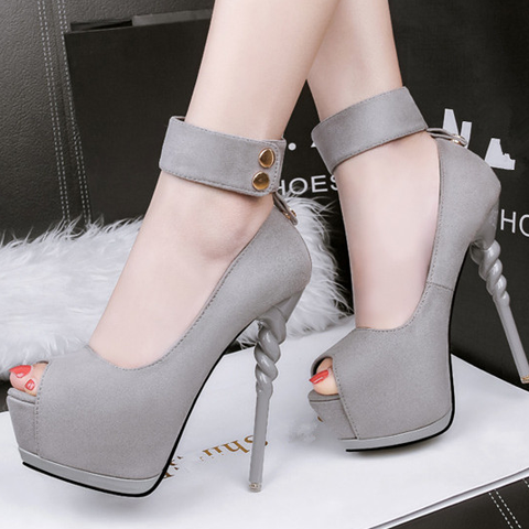New Women Pumps Shoes Fashion Flock Peep Toe Thin High Heels Shallow Platform Solid Sexy Lady Club Party Female Shoes