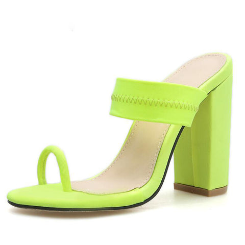 New Sandals Slippers Thin High Heels Sandals Flip Flop Buckle Hollow Women Shoes Sexy Slippers Pumps