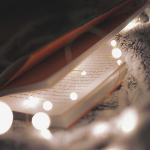 Christmas lights and book