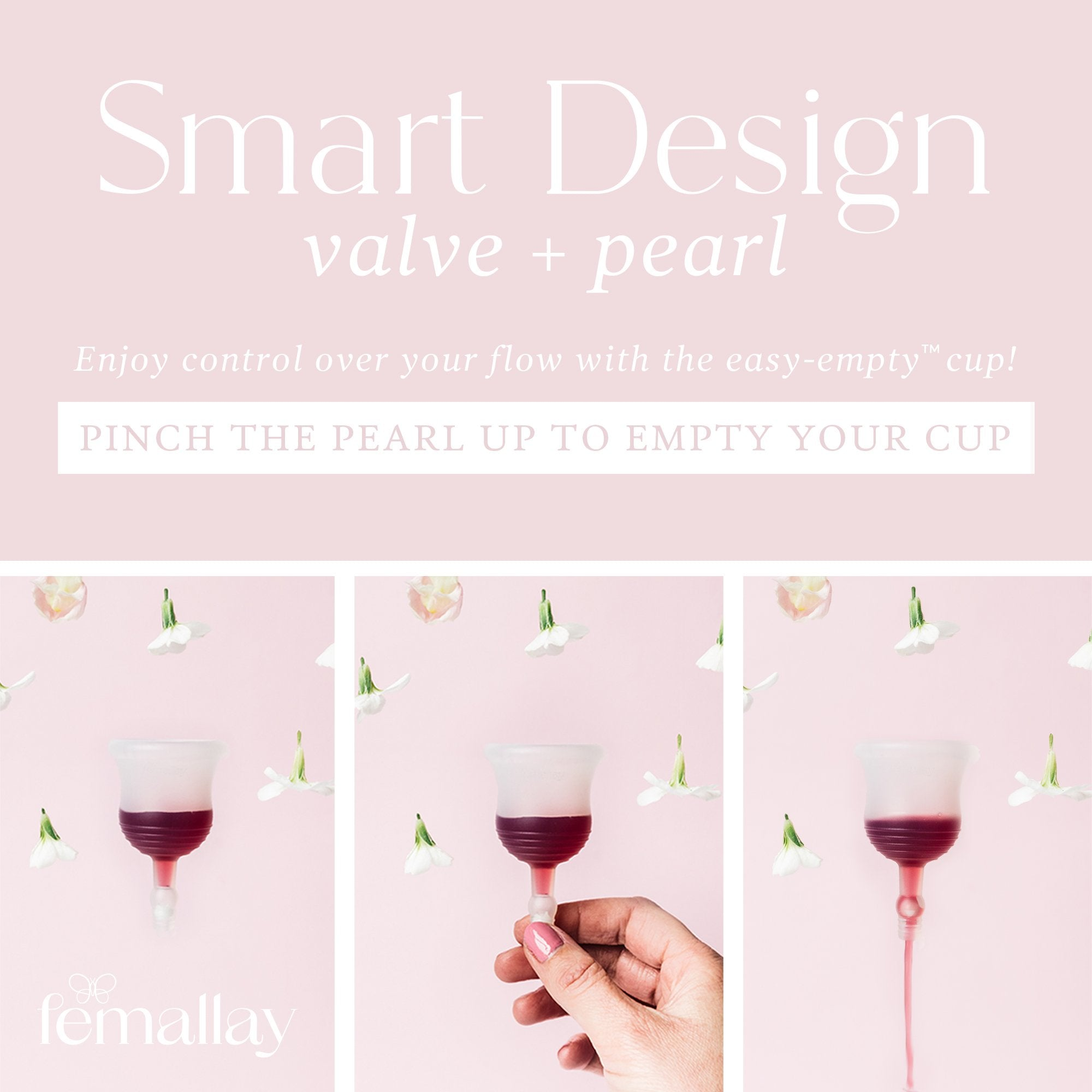 Femallay Easy-Empty™ Menstrual Cup with Valve & Pearl - Lavender