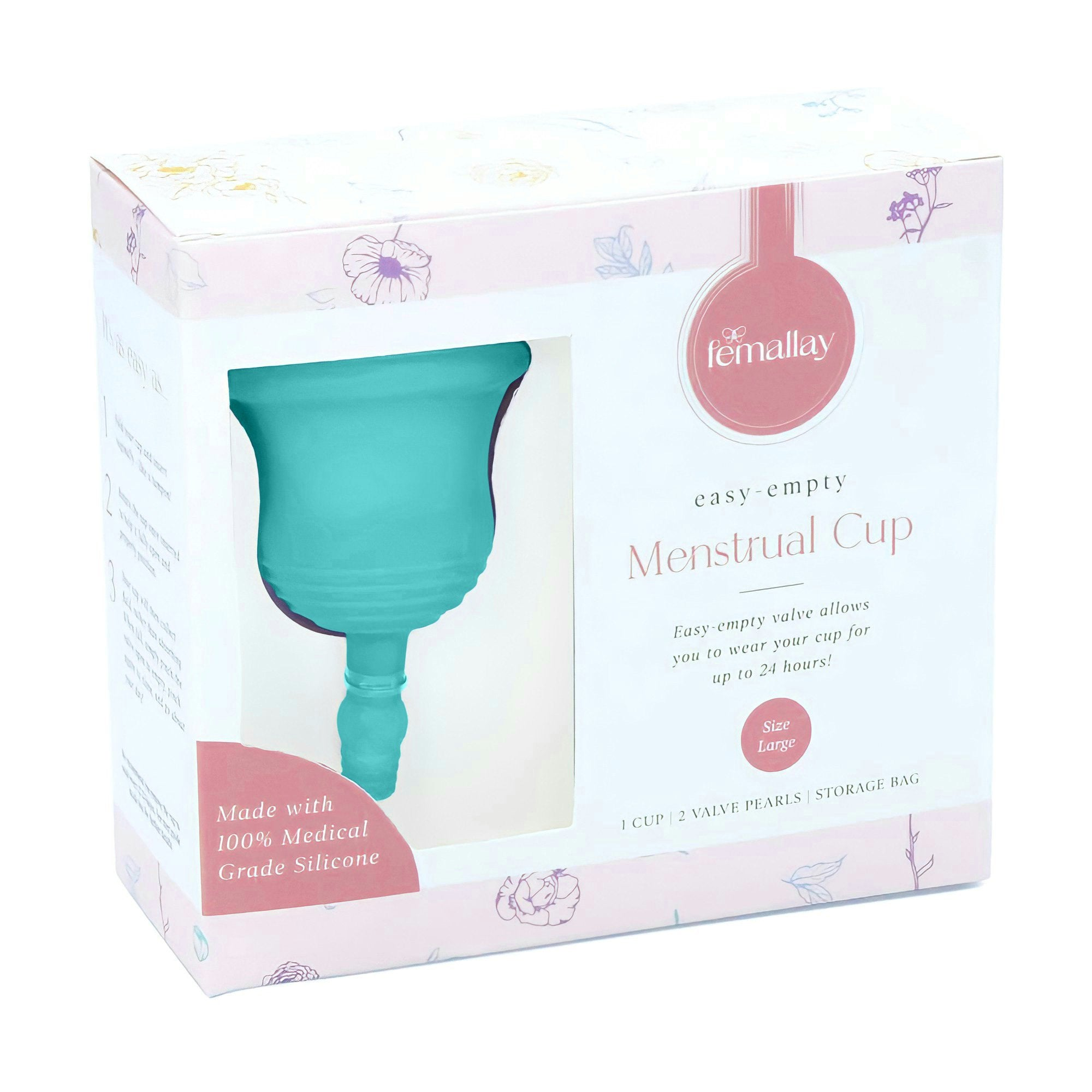 Femallay Easy-Empty™ Menstrual Cup with Valve & Pearl - Turquoise