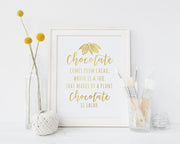 Funny Chocolate is Salad | Free Printable Quote | Digital Wall Art
