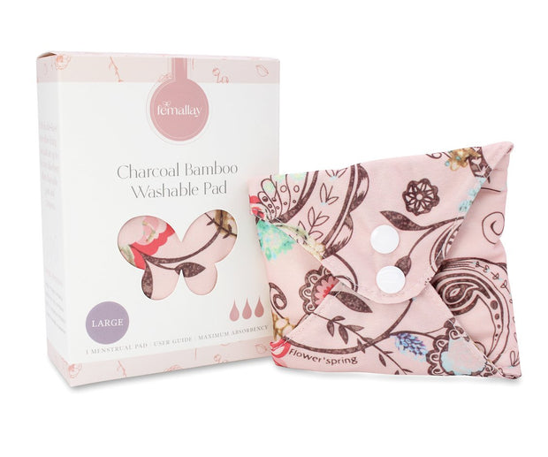 Femallay Bamboo Charcoal Cloth Menstrual Pads - Pink Florals Pattern