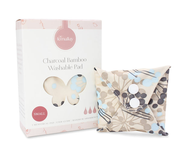 Femallay Bamboo Charcoal Cloth Menstrual Pads - Whimsical Neutrals Pattern